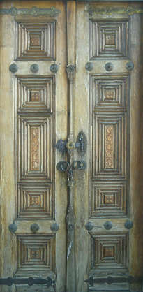 door medieval wood ornate old